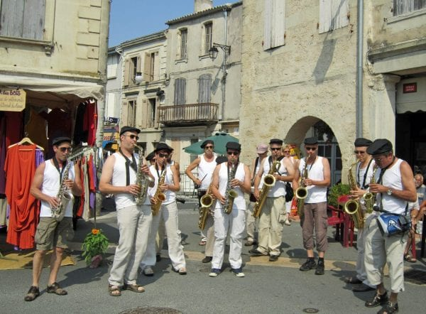 A band decide to turn up and play on market day