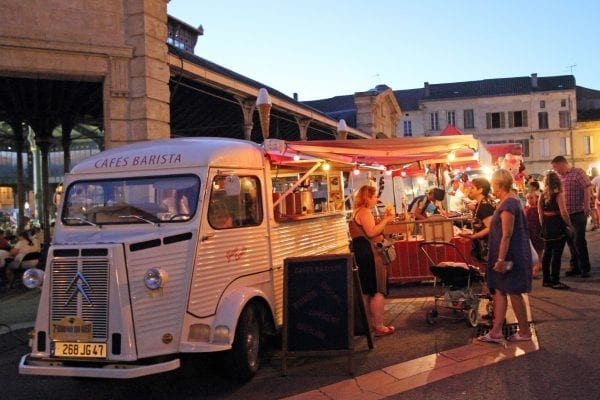 Weekly summer night markets in many town through our the region, this is Monsegur (Gironde)