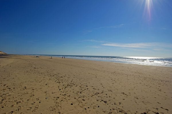 The beach, many miles of fine golden sands, also good surfing