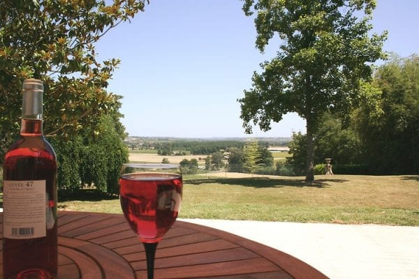 Wine on the front terrace with far reaching views