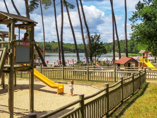 Le Grand Etang de La Jemaye, a great day out for all the family with a sandy beach, lake swimming with lifeguards, play grounds, cafes, free canoes and walks