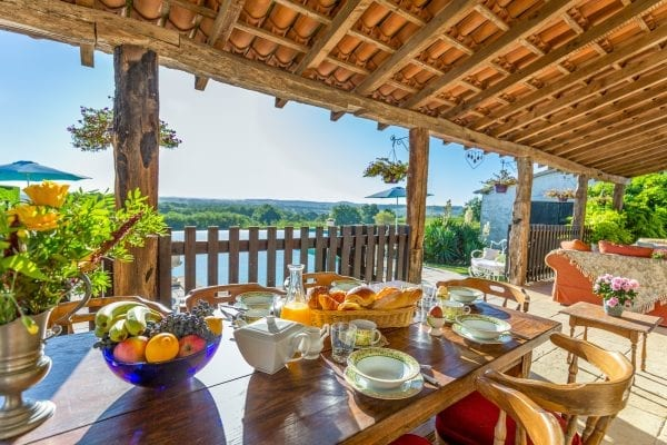 Breakfast looking out to the views