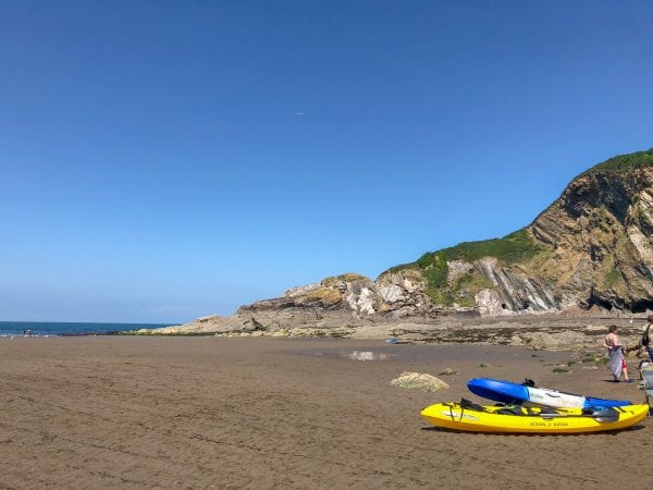 Combe Martin beach, canoe and board hire available
