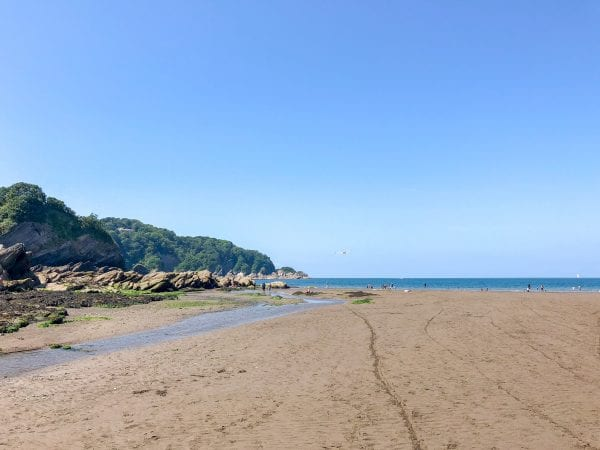 Combe Martin beach on a very low tide