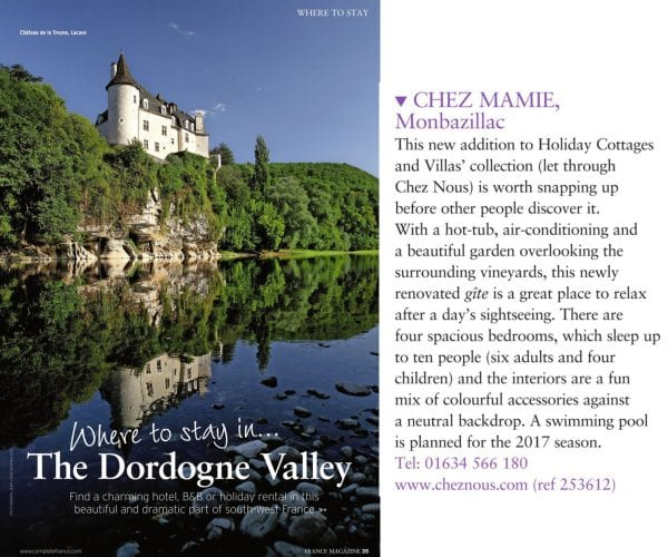 France Magazine where to stay in the Dordogne valley, July 2016, Chez Mamie
