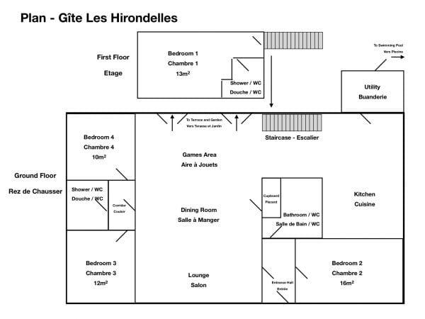 Les Hirondelles gite floor plan