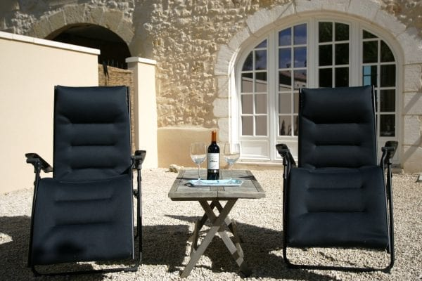 Gite du Chateau, relaxing on the private terrace