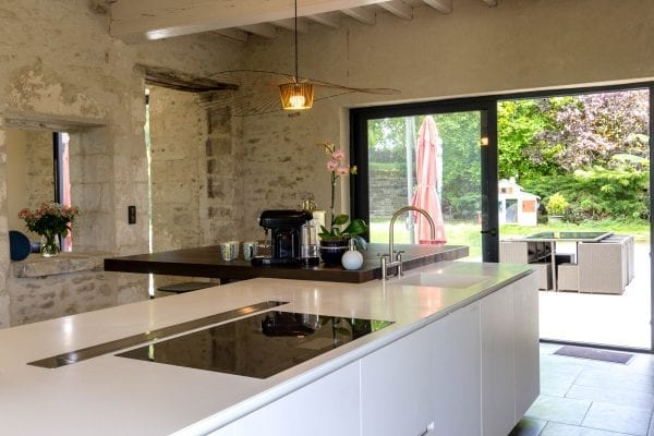 Kitchen with views onto the main terrace dining area