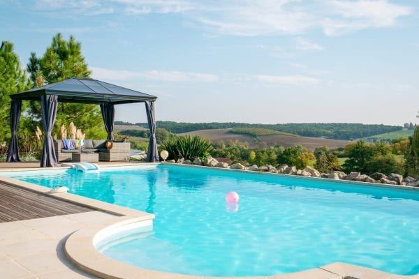 Les Hirondelles holiday gite in France with a private alarmed, fenced & gated salt water swimming pool