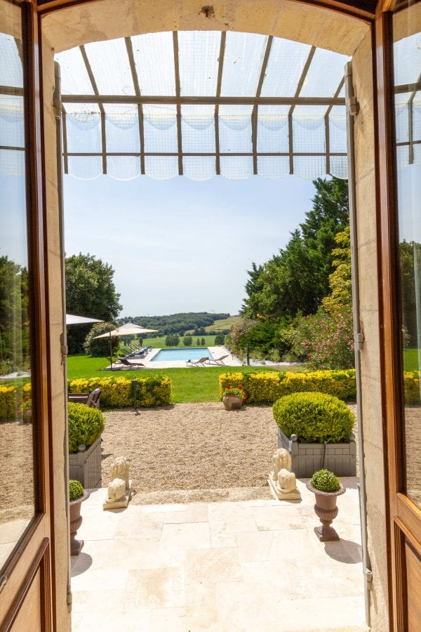 Looking out from the house towards the pool and the valley views