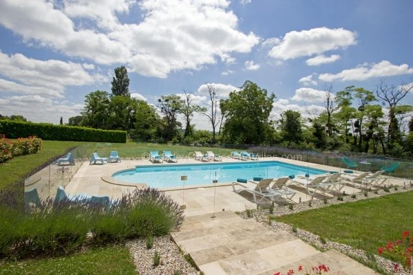 Secure swimming pool with security fencing and gate
