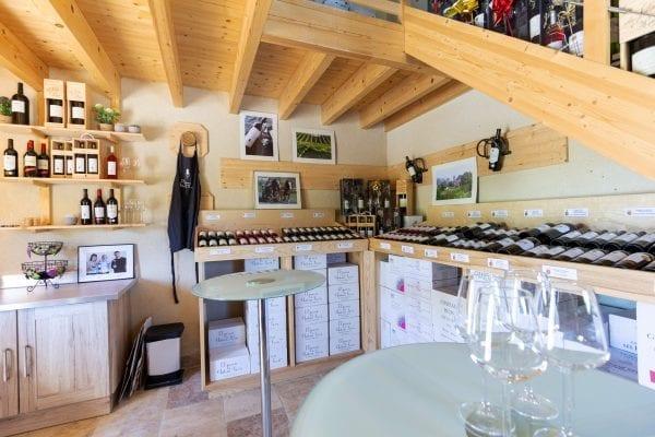The estate wine tasting room