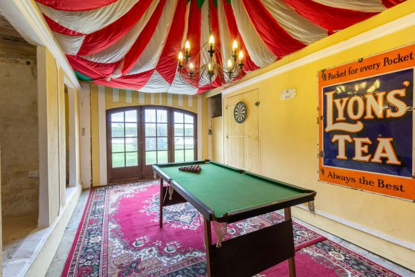 The games room looking out to the pool