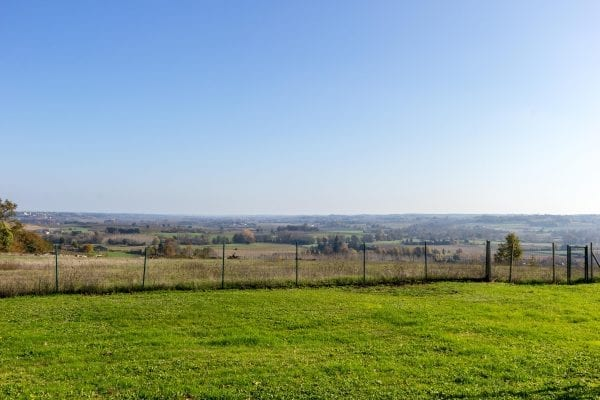 The gate takes you into the meadow, you can just see Duras chateau on the far hill side to the left