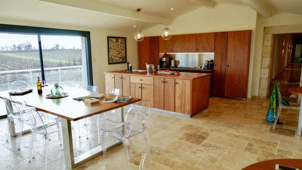 The open plan kitchen and dining area