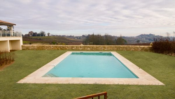 The private swimming pool, a winter view as the pool has only just been completed