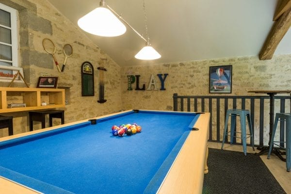 The pool table on the mezzanine