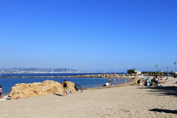 Theoule beach looking over towards antibes