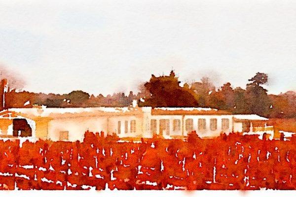 Water colour exterior chateau Vrai Canon Buche villa